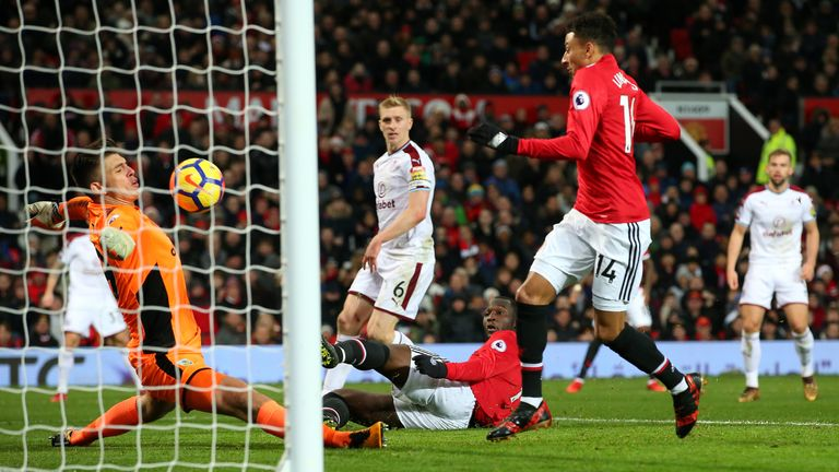 Jesse Lingard misses a sitter from close range after the break