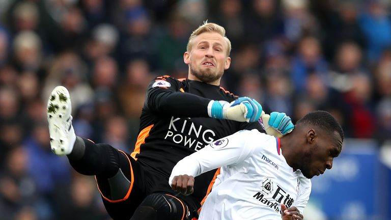 Kasper Schmeichel and Christian Benteke in action at the King Power Stadium
