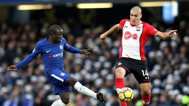 N'Golo Kante challenges Oriol Romeu for posession