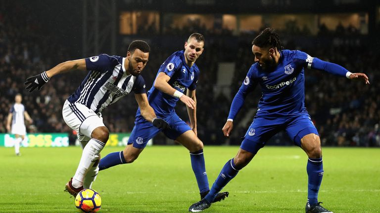 Matt Phillips is closed down by Ashley Williams and Morgan   Schneiderlin