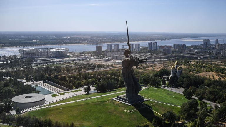 The Motherland Calls statue overlooks the World Cup stadium in Volgograd