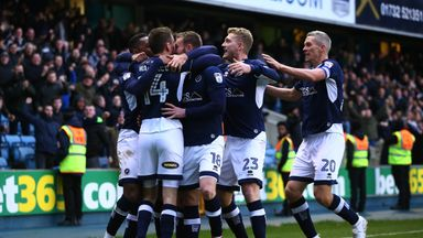 Jed Wallace celebrates after scoring the first goal for Millwall