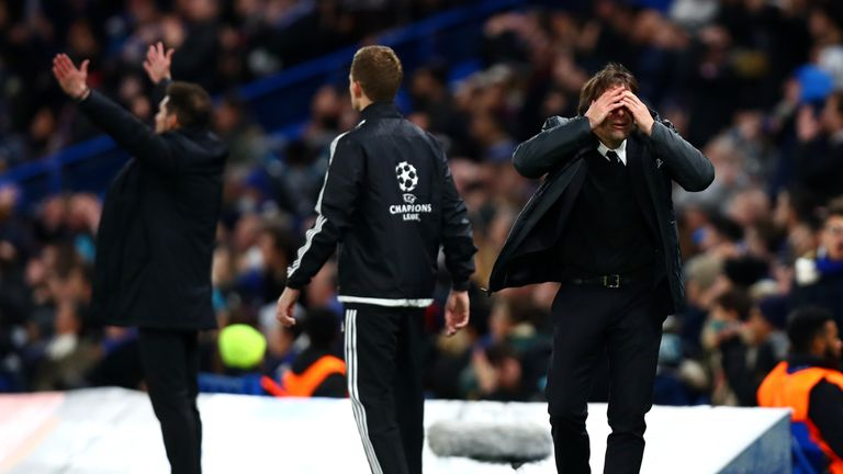 Antonio Conte, manager of Chelsea, reacts during the UEFA Champions League group C match against Atletico Madrid