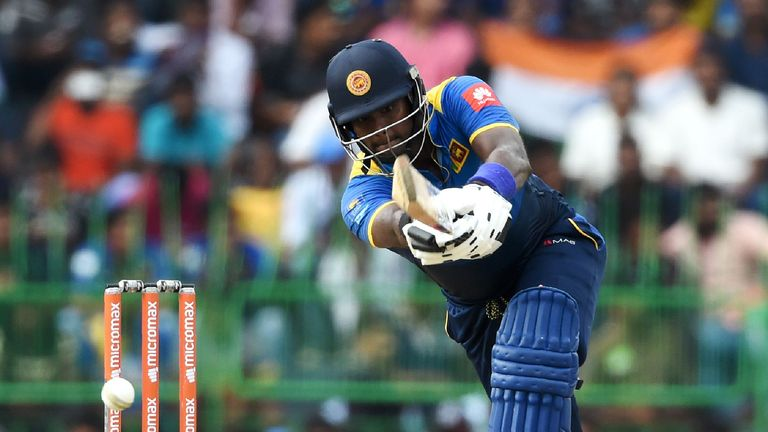 Sri Lankan cricketer Angelo Mathews plays a shot during the final one day international (ODI) cricket match between Sri Lanka and India at R. Premadasa Sta