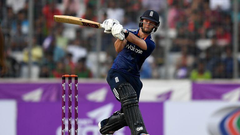 Ben Duckett bats during England's One Day International match against Bangladesh