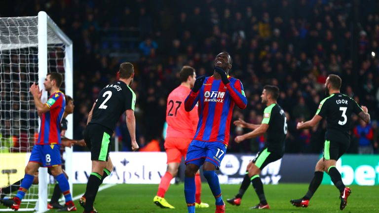 Christian Benteke holds his head to his hands after the missed penalty