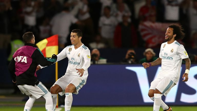 Cristiano Ronaldo celebrates after scoring for Real Madrid