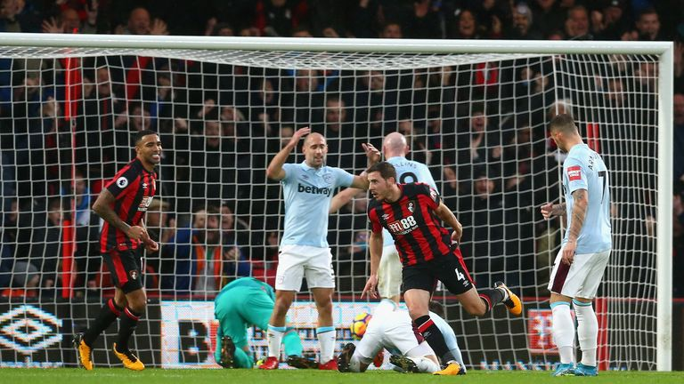 BOURNEMOUTH, ENGLAND - DECEMBER 26: Dan Gosling of AFC Bournemouth celebrates scoring his sides first goal during the Premier League match between AFC Bour