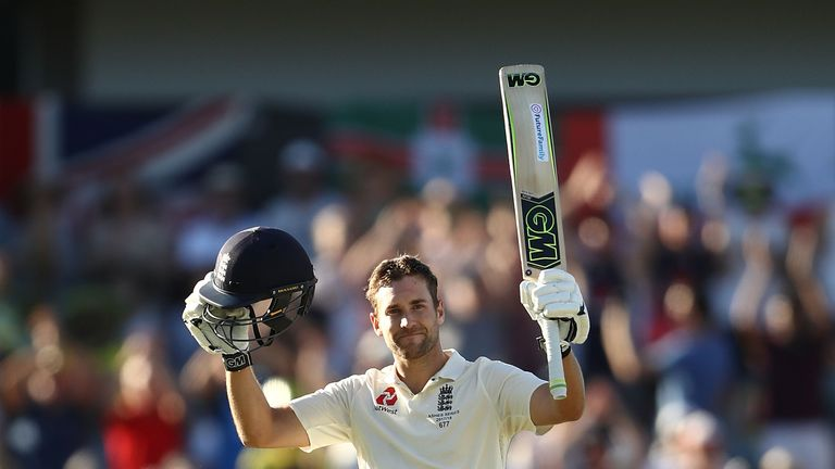 Dawid Malan of England celebrates after reaching his century during day one of the Third Test match of the 2017/18 Ashes