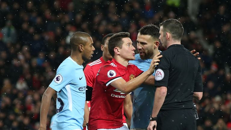 during the Premier League match between Manchester United and Manchester City at Old Trafford on December 10, 2017 in Manchester, England.