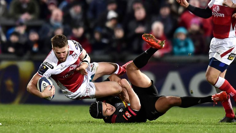 BELFAST, NORTHERN IRELAND - DECEMBER 15: Stuart McCloskey of Ulster and Winston Stanley of Harlequins during the European Rugby Champions Cup match between