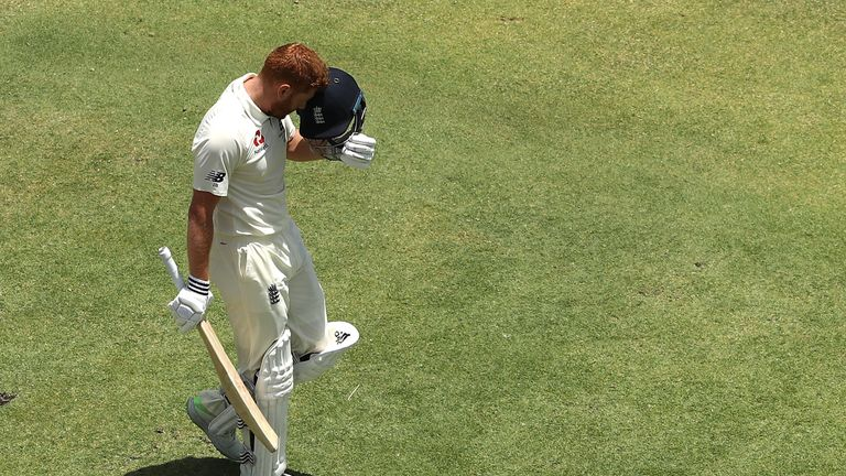 Jonny Bairstow of England celebrates after reaching his century during day two of the Third Test