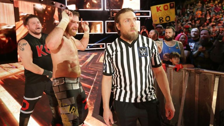 Daniel Bryan left the ring with Sami Zayn and Kevin Owens after their win over Randy Orton and Shinsuke Nakamura