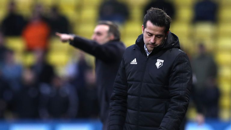 Marco Silva looks dejected during the Premier League match between Watford and Swansea City at Vicarage Road