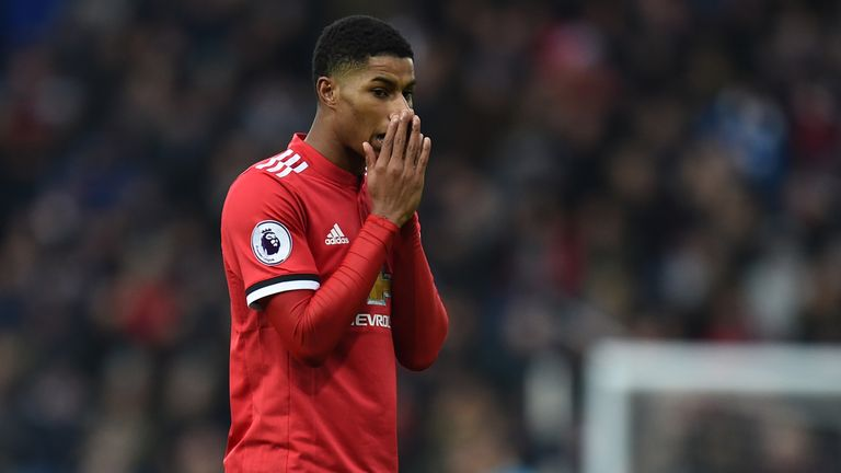 Manchester United's English striker Marcus Rashford reacts to a missed chance during the English Premier League football match between West Bromwich Albion