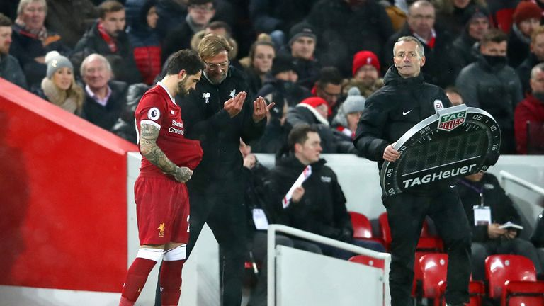Danny Ings prepares to come on during the Merseyside derby at Anfield
