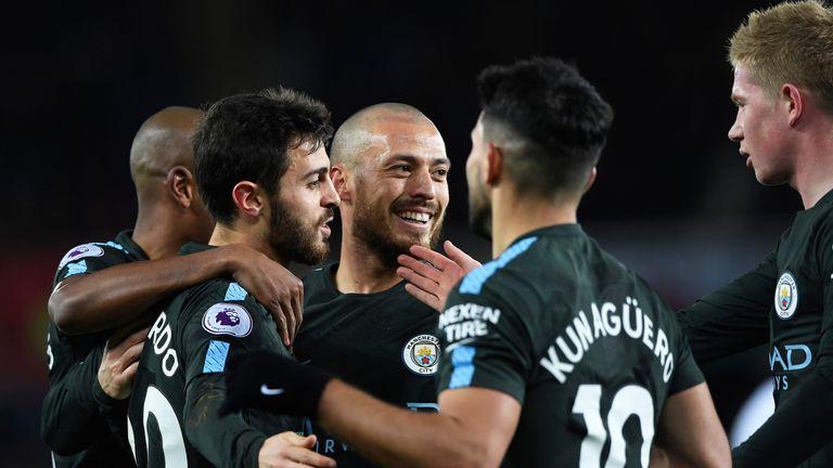 David Silva celebrates after scoring Manchester City's opening goal