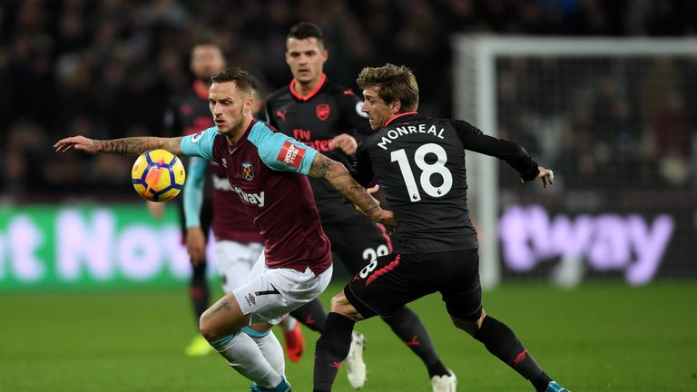 Marko Arnautovic in action during the Premier League match between West Ham and Arsenal