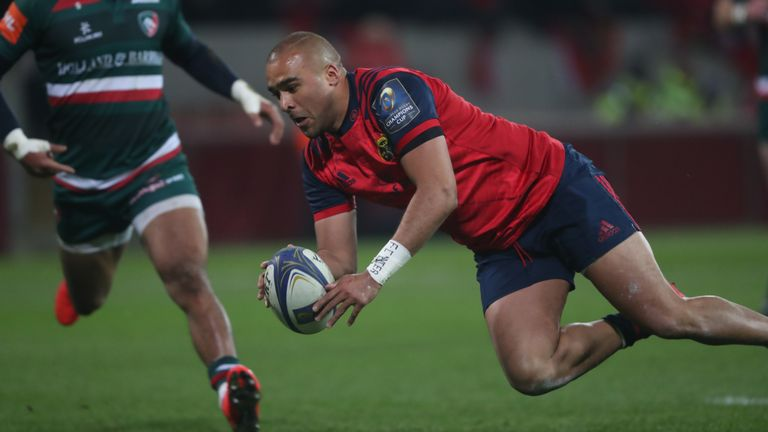 Munster's Simon Zebo scores a try during the European Rugby Champions Cup, Pool Four match at Thomond Park, Limerick.