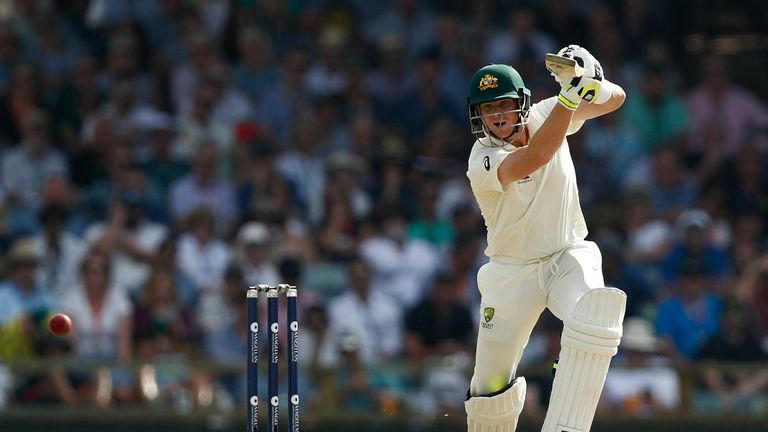 Steve Smith of Australia bats during day two of the Third Test match during the 2017/18 Ashes