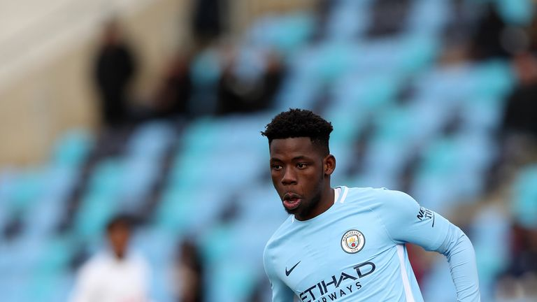 MANCHESTER, ENGLAND - NOVEMBER 25:  Tom Dele-Bashiru of Manchester City during the Premier League 2 at The Academy Stadium on November 25, 2017 in Manchest