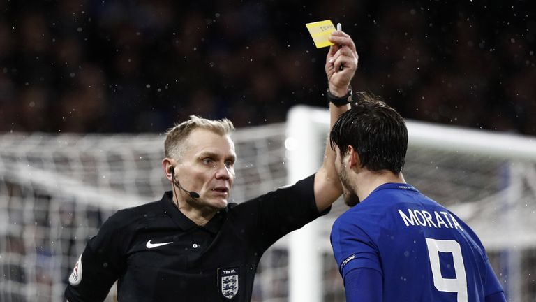 Alvaro Morata was booked for diving against Norwich and then received a second yellow card