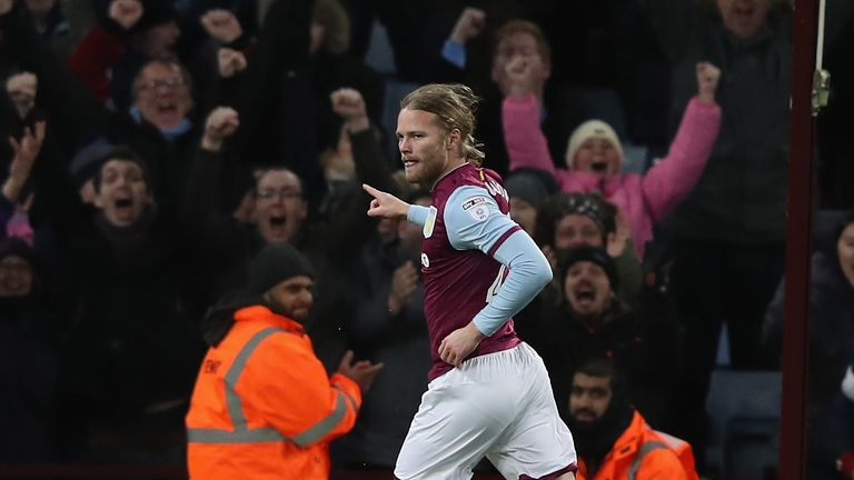 Birkir Bjarnason slotted in Villa's fourth moments after coming on