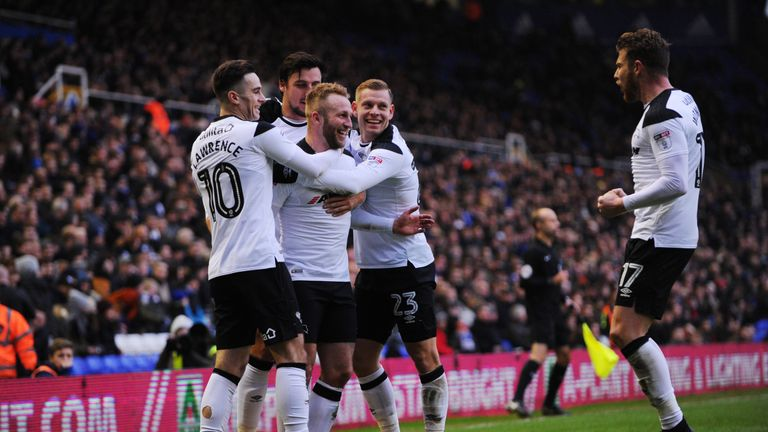 Derby players congratulate Johnny Russell after he put the visitors ahead