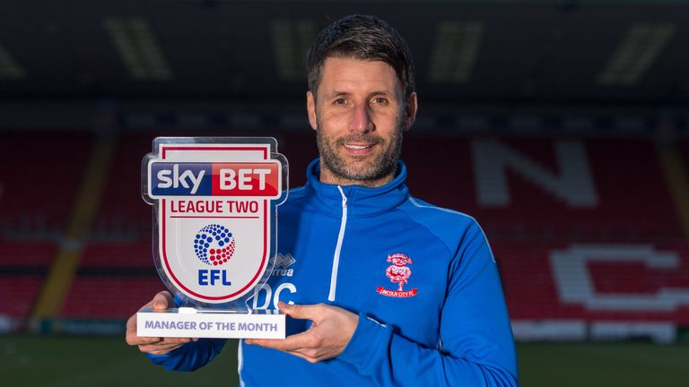 Danny Cowley of Lincoln City wins the Sky Bet League Two Manager of the Month award