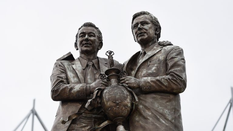 A statue of one of the most famous partnerships in English football management, Brian Clough and Peter Taylor, stands outside Pride Park Stadium
