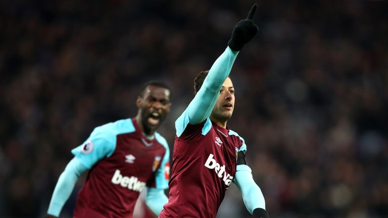 West Ham's Javier Hernandez celebrates after scoring the equaliser in the 1-1 draw with Bournemouth