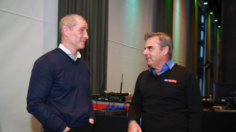 Senior coach of Leinster Lancaster (left) speaks with former European Ryder Cup team captain Paul McGinley