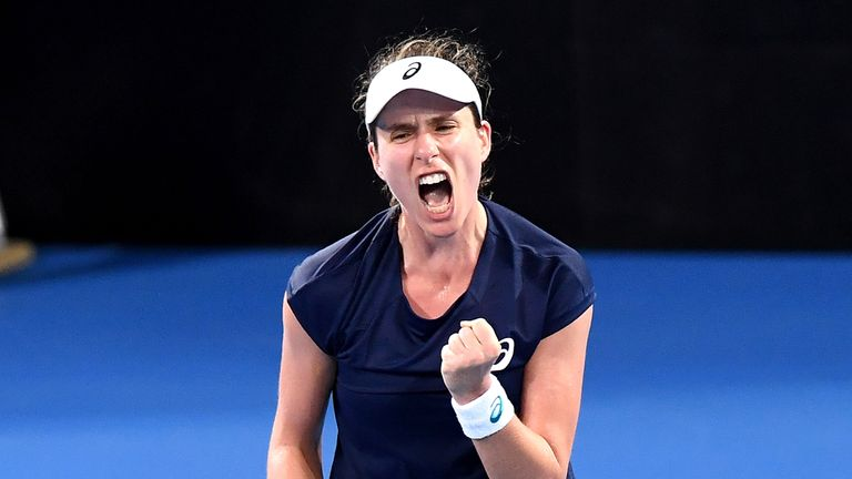 Johanna Konta celebrates during her victory over Ajla Tomljanovic