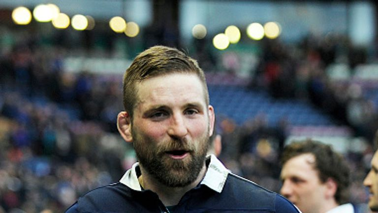 Scotland's flanker John Barclay celebrates after the win over England