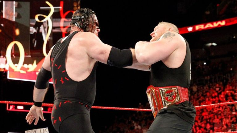 Kane took the pin in the triple threat Universal title match against Brock Lesnar and Braun Strowman at Royal Rumble