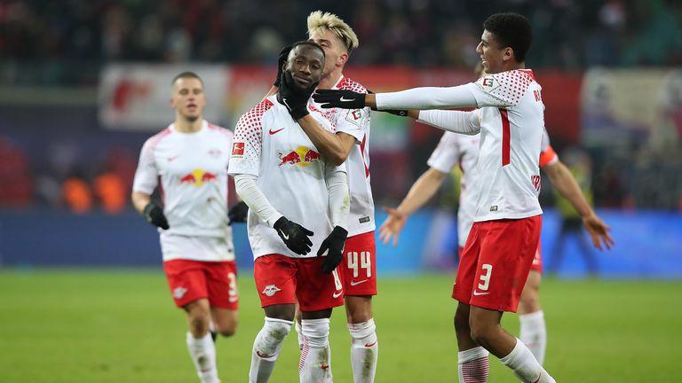 Naby Keita celebrates scoring against Schalke