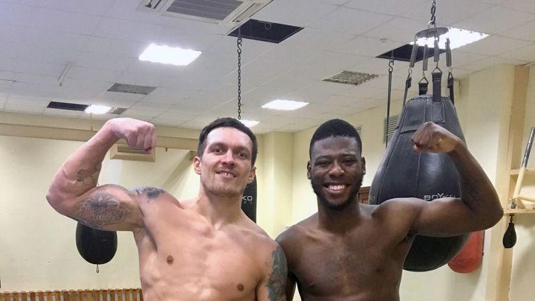 Oleksandr Usyl and Isaac Chamberlain take a well-earned break