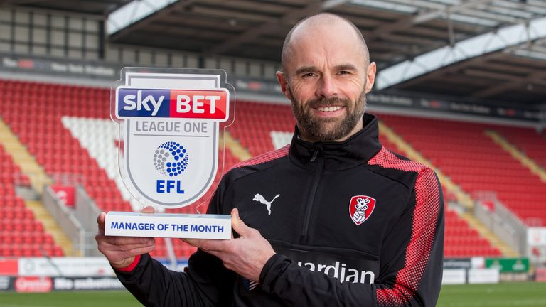 Paul Warne of Rotherham United wins the Sky Bet League One Manager of the Month award