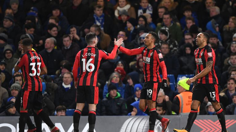 Junior Stanislas celebrates with Lewis Cook Bournemouth go 2-0 up at Stamford Bridge