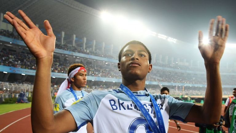 Rhian Brewster won the golden boot in England Under-17s' successful World Cup campaign in India