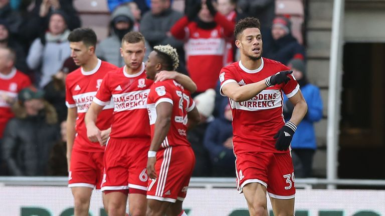 Middlesbrough's Rudy Gestede celebrates scoring the opener