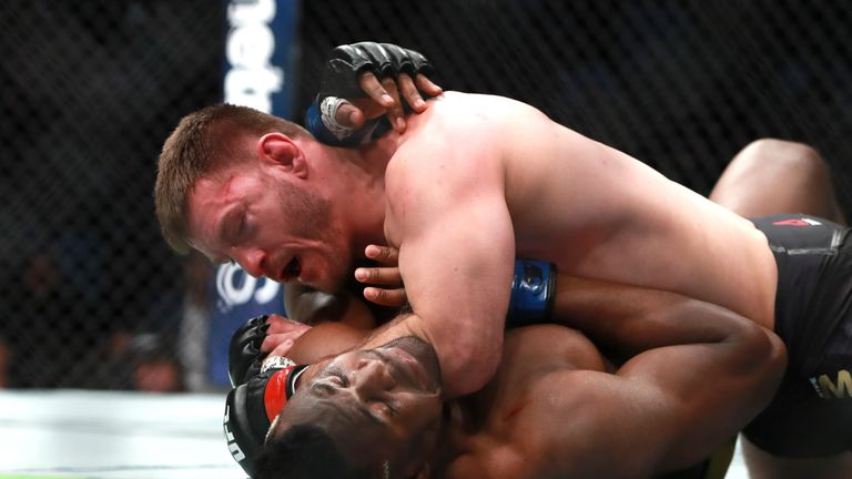 Stipe Miocic became the first UFC heavyweight champion to defend his title three times at UFC 220