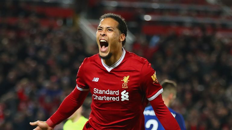 Van Dijk celebrates after scoring a late winner against Everton in the FA Cup