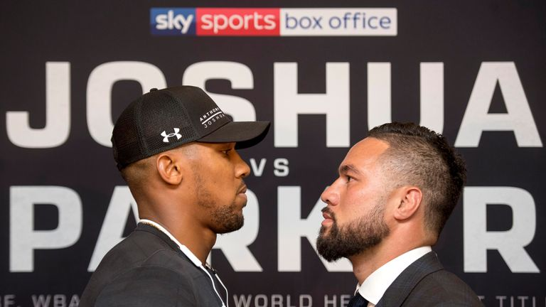 Anthony Joshua and Joseph Parker face each other for a photo during the press conference at the Dorchester Hotel