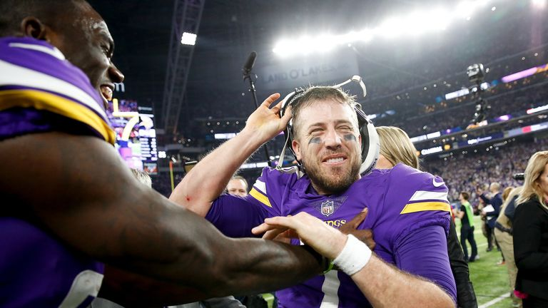 MINNEAPOLIS, MN - JANUARY 14:  Case Keenum #7 of the Minnesota Vikings celebrates wtih teammates after defeating the New Orleans Saints in the NFC Division