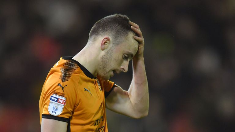 Wolverhampton Wanderers' Diogo Jota reacts after his shot at goal went over the bar during the Sky Bet Championship match at Oakwell, Barnsley.