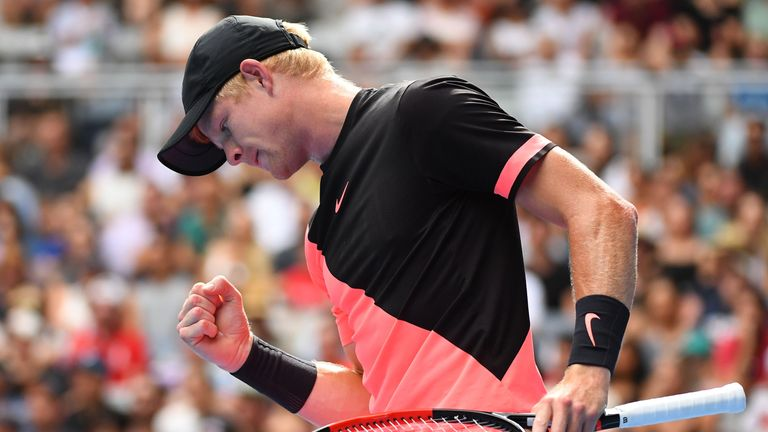 MELBOURNE, AUSTRALIA - JANUARY 21:  Kyle Edmund of Great Britain celebratess winning a point in his fourth round match against Andreas Seppi of Italy on da