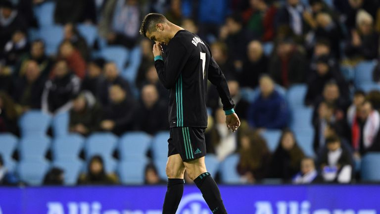 Cristiano Ronaldo reacts during the La Liga match between Celta Vigo and Real Madrid