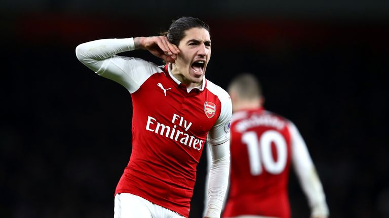 Hector Bellerin celebrates after making it 2-2 late in the game