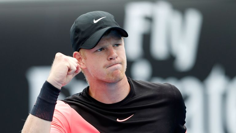 Kyle Edmund of Great Britain celebrates winning a point in his first round match against Kevin Anderson of South Africa